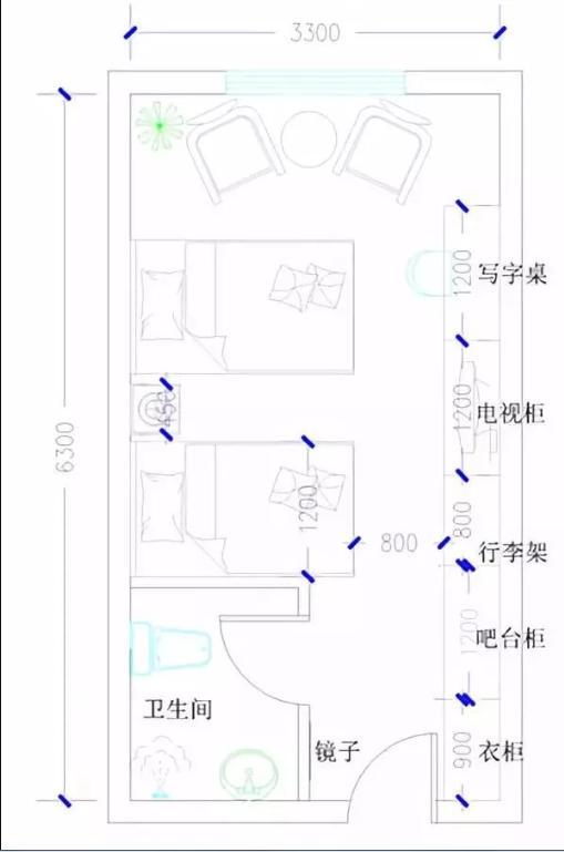 酒店双床标间家具配置分布图