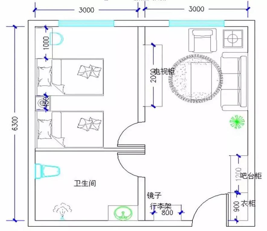 双床套间家具配置分布图