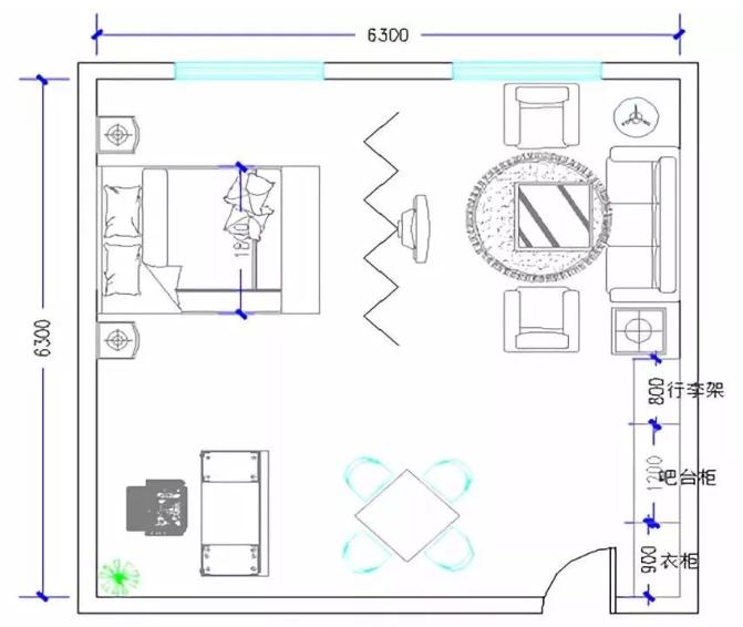 豪华套间家具配置分布图